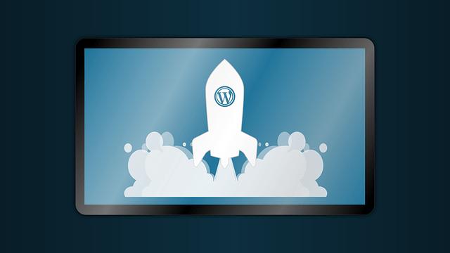Wordpress logo on a rocket